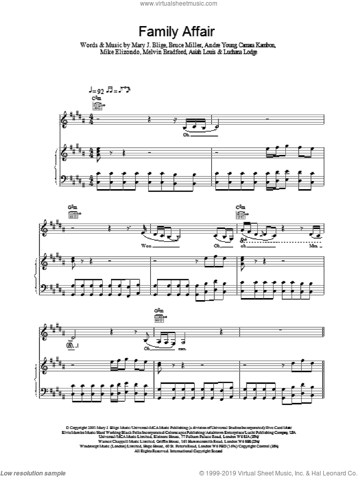 Family Affair sheet music for voice, piano or guitar by Mary J. Blige, intermediate. Score Image Preview.