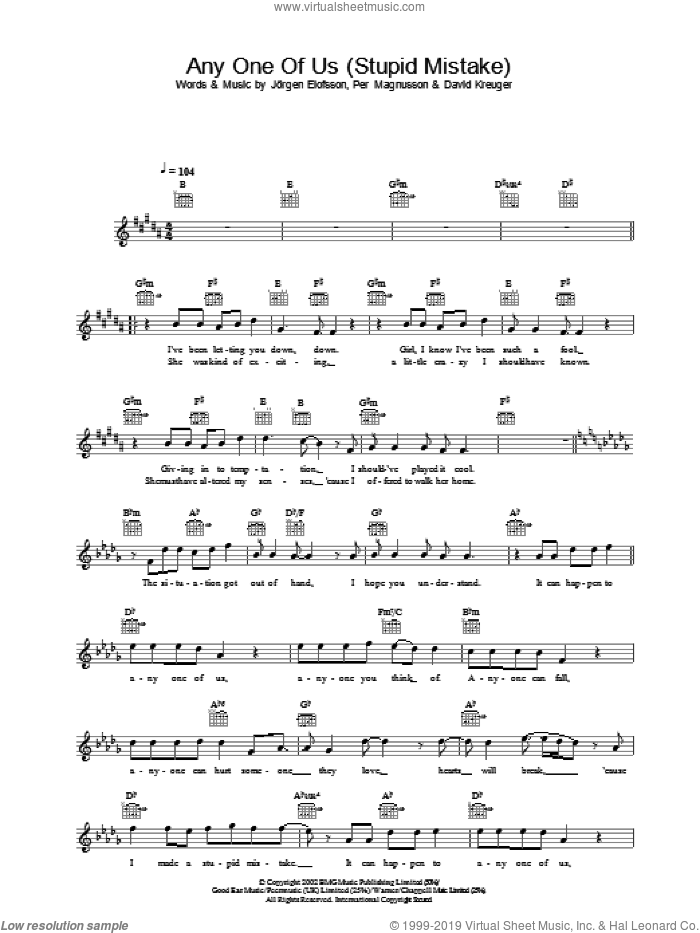 Any One Of Us (Stupid Mistake) sheet music for voice and other instruments (fake book) by Gareth Gates. Score Image Preview.