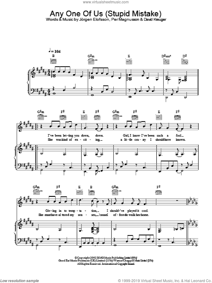 Anyone Of Us (Stupid Mistake) sheet music for voice, piano or guitar by Gareth Gates, intermediate. Score Image Preview.