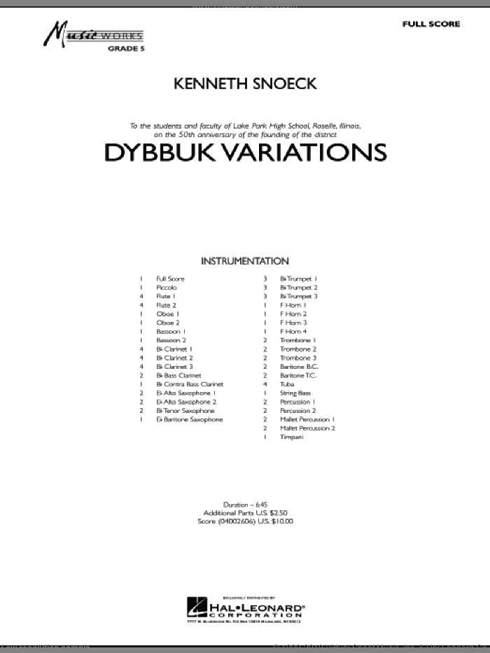 Dybbuk Variations (COMPLETE) sheet music for concert band by Kenneth Snoeck, intermediate. Score Image Preview.