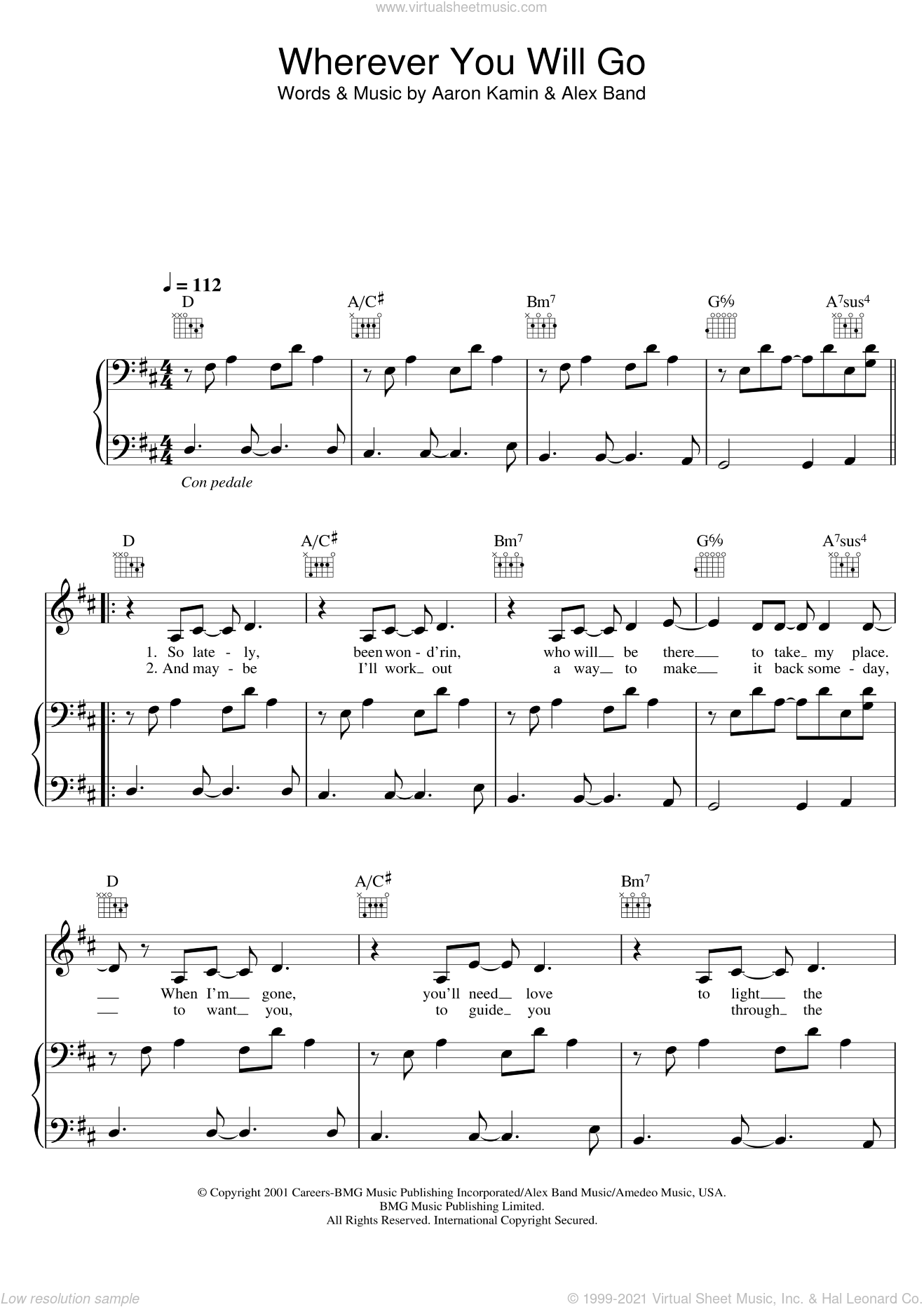 Wherever You Will Go sheet music for voice, piano or guitar by The Calling. Score Image Preview.