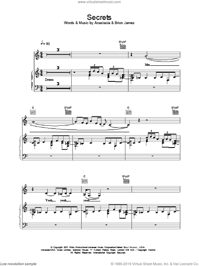 Secrets sheet music for voice, piano or guitar by Anastacia. Score Image Preview.