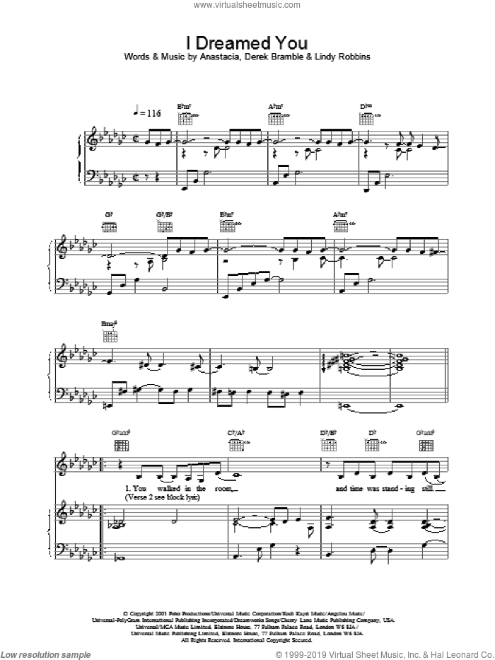 I Dreamed You sheet music for voice, piano or guitar by Anastacia, intermediate skill level