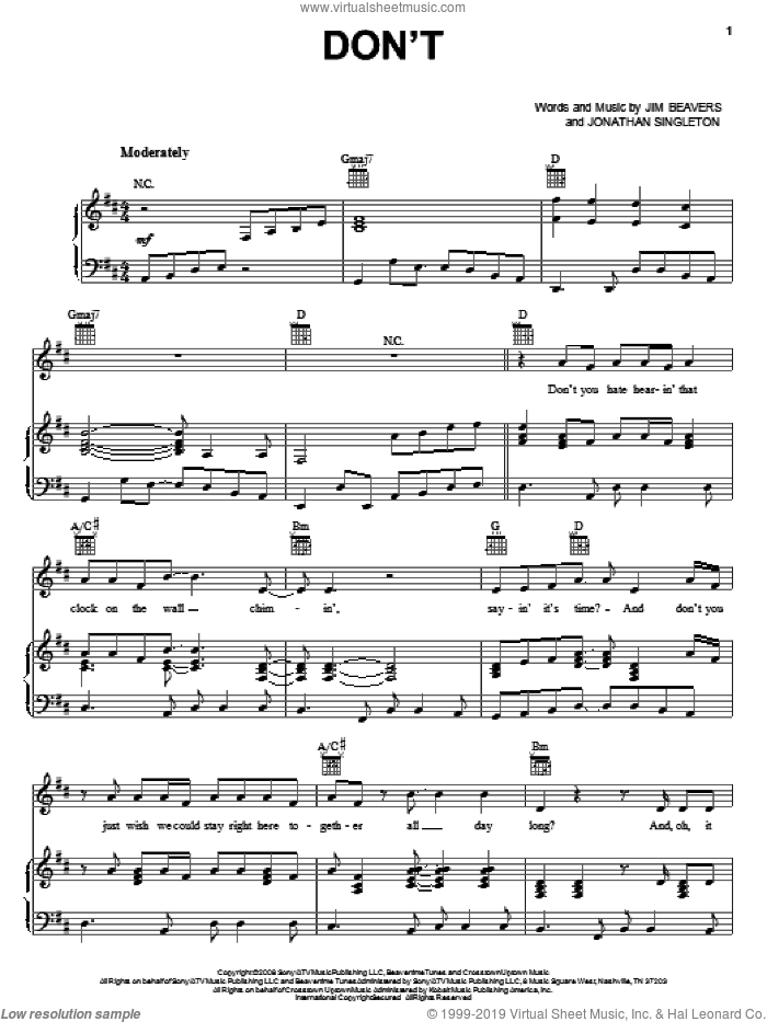 Don't sheet music for voice, piano or guitar by Jonathan Singleton