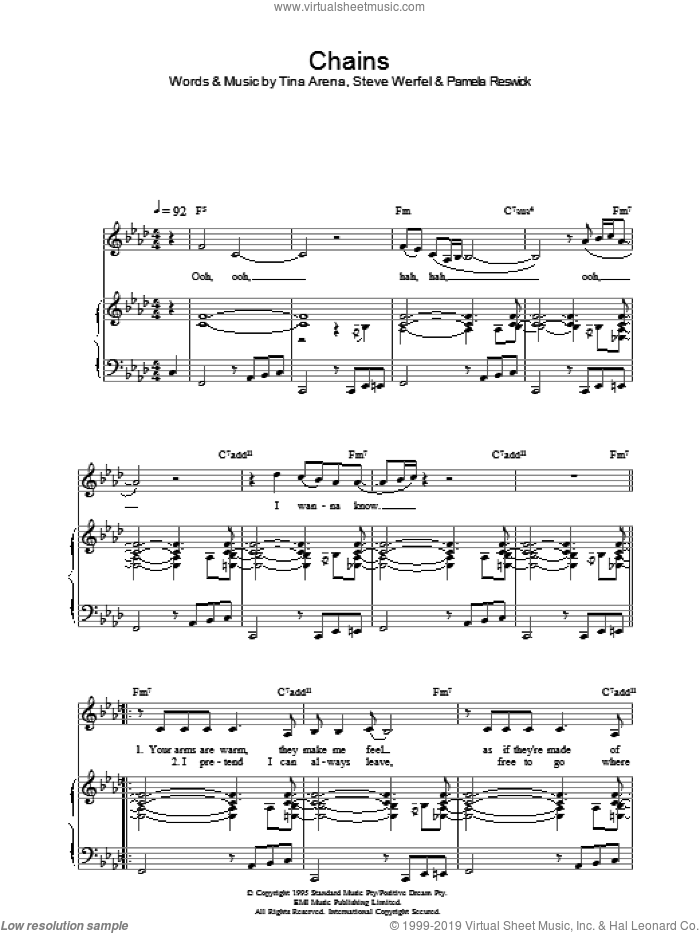 Chains sheet music for voice, piano or guitar by Tina Arena. Score Image Preview.