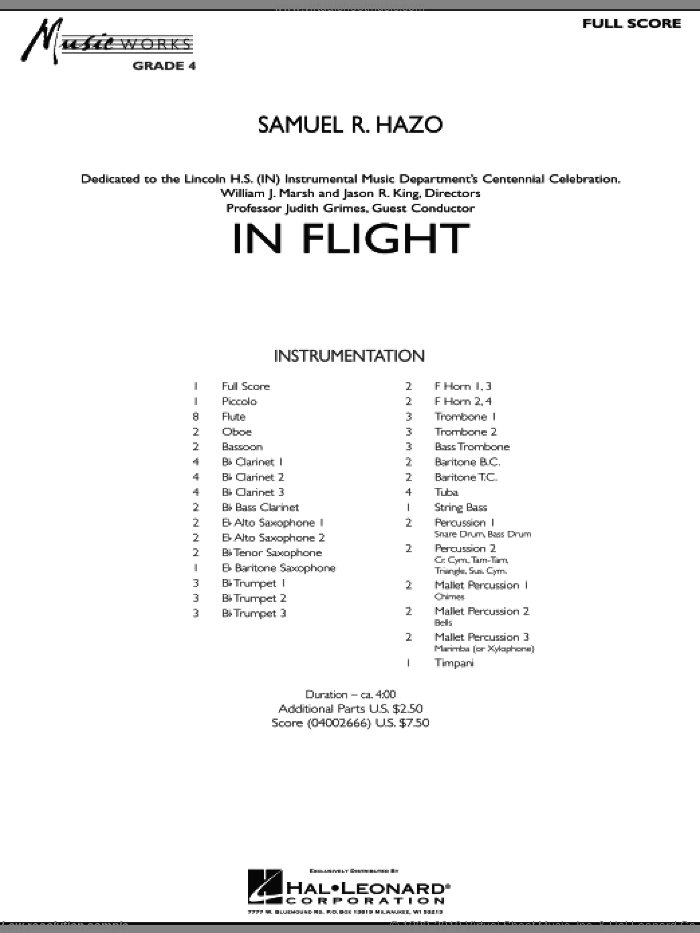 In Flight sheet music for concert band (full score) by Samuel R. Hazo