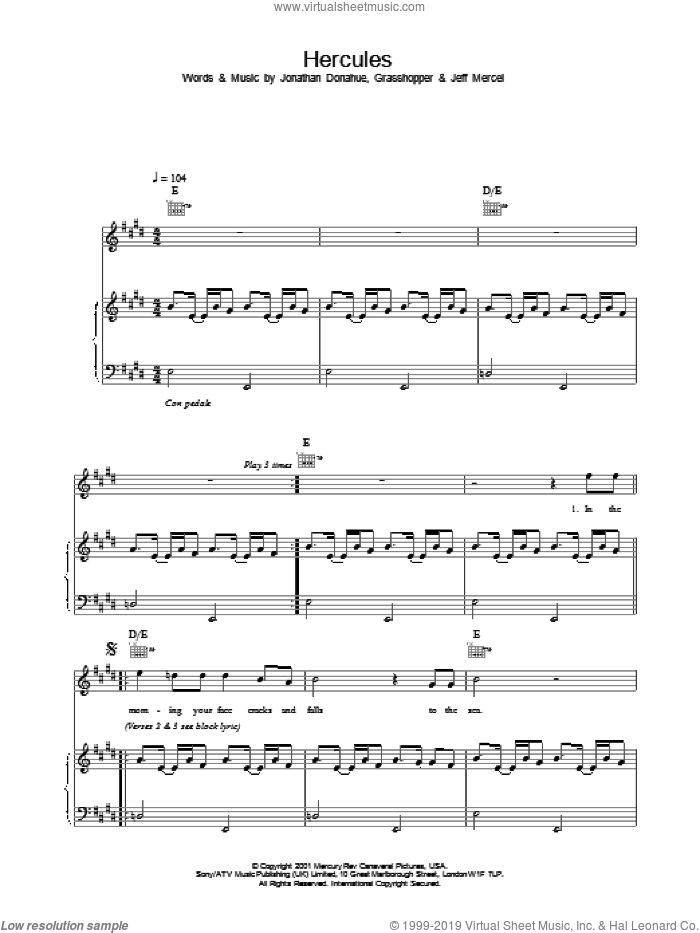 Hercules sheet music for voice, piano or guitar by Mercury Rev, intermediate skill level