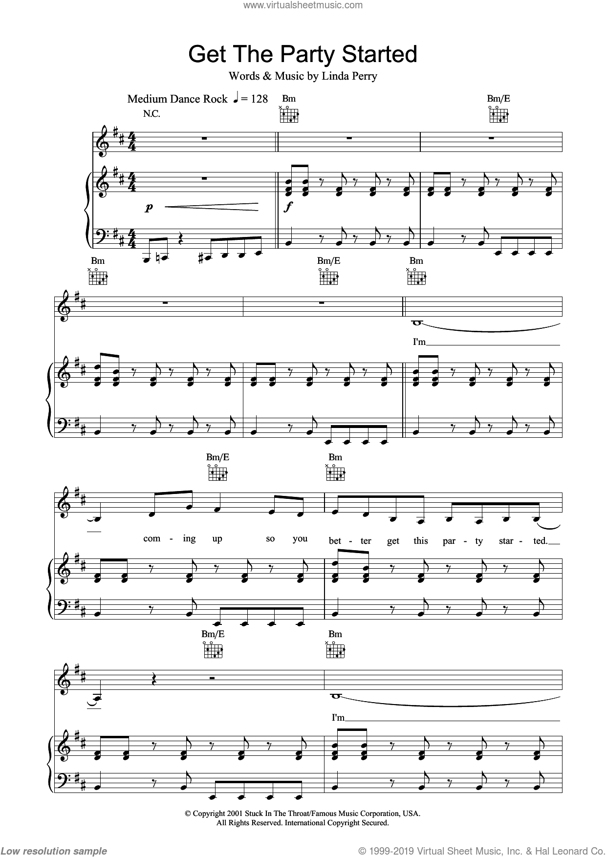 Get The Party Started sheet music for voice, piano or guitar  and Linda Perry, intermediate skill level
