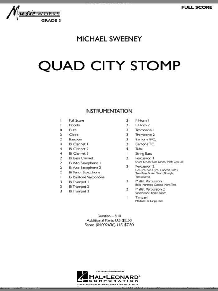Quad City Stomp (COMPLETE) sheet music for concert band by Michael Sweeney, intermediate skill level