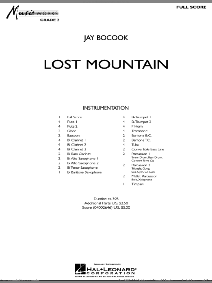 Lost Mountain sheet music for concert band (full score) by Jay Bocook