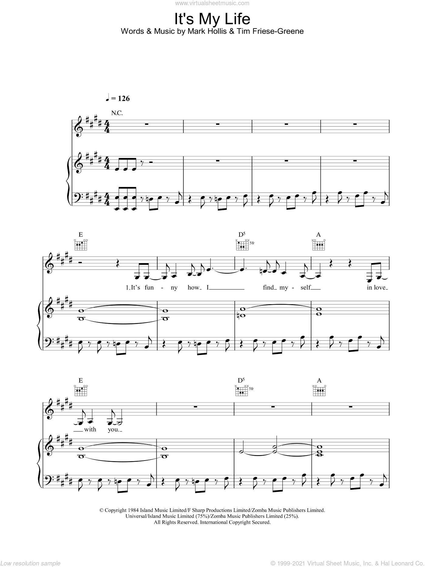 It's My Life sheet music for voice, piano or guitar by No Doubt, intermediate skill level