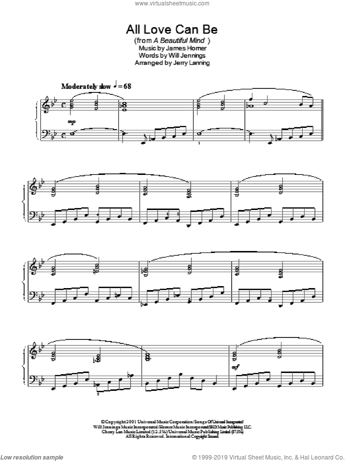 All Love Can Be (from A Beautiful Mind) sheet music for piano solo by James Horner. Score Image Preview.