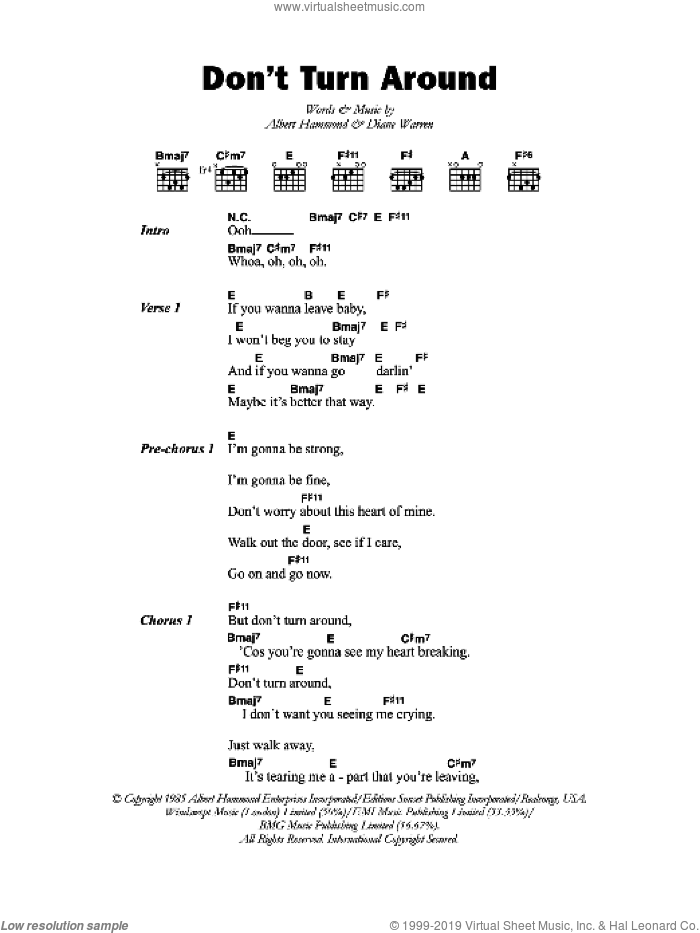 Don't Turn Around sheet music for guitar (chords, lyrics, melody) by Albert Hammond