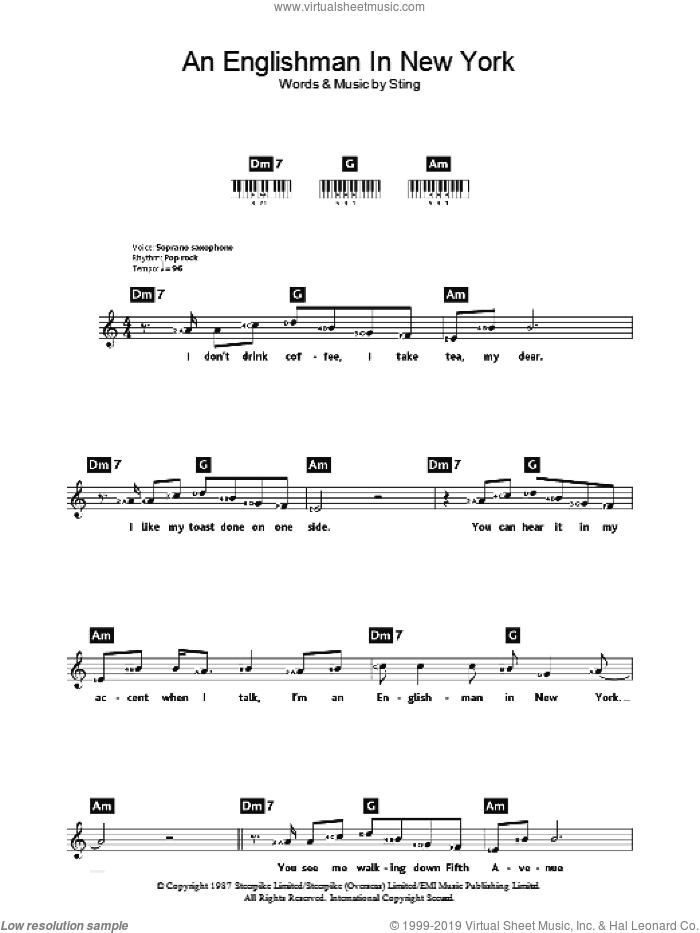 An Englishman In New York sheet music for piano solo (chords, lyrics, melody) by Sting, intermediate piano (chords, lyrics, melody)
