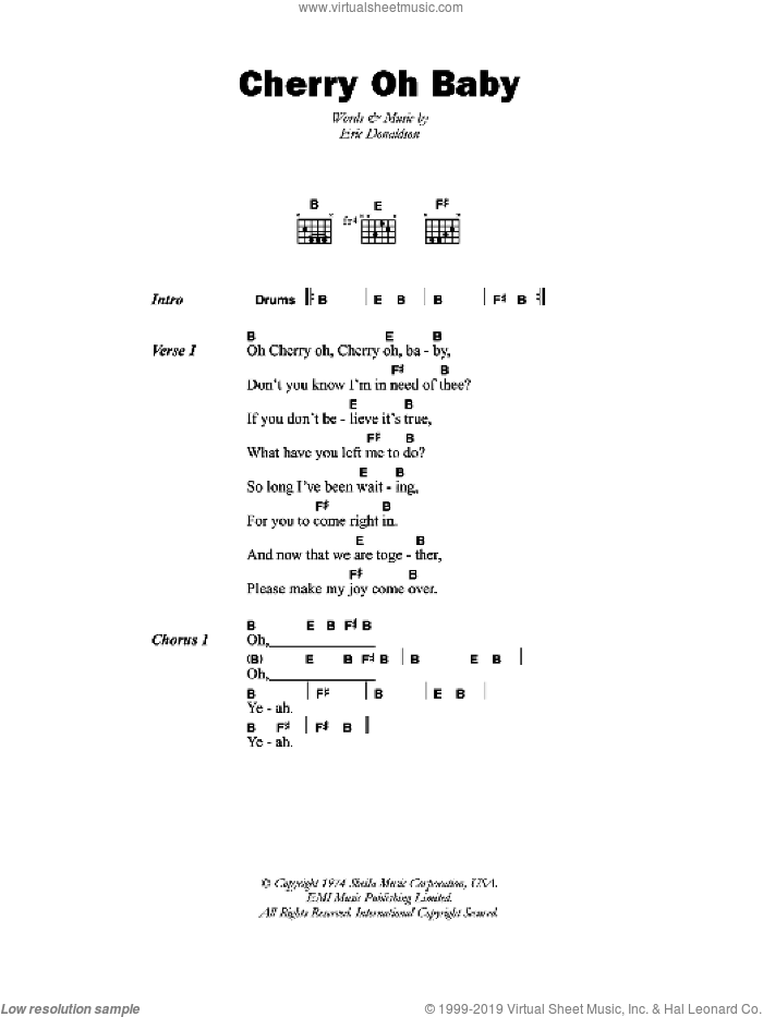 Cherry Oh Baby sheet music for guitar (chords) by Eric Donaldson, intermediate skill level