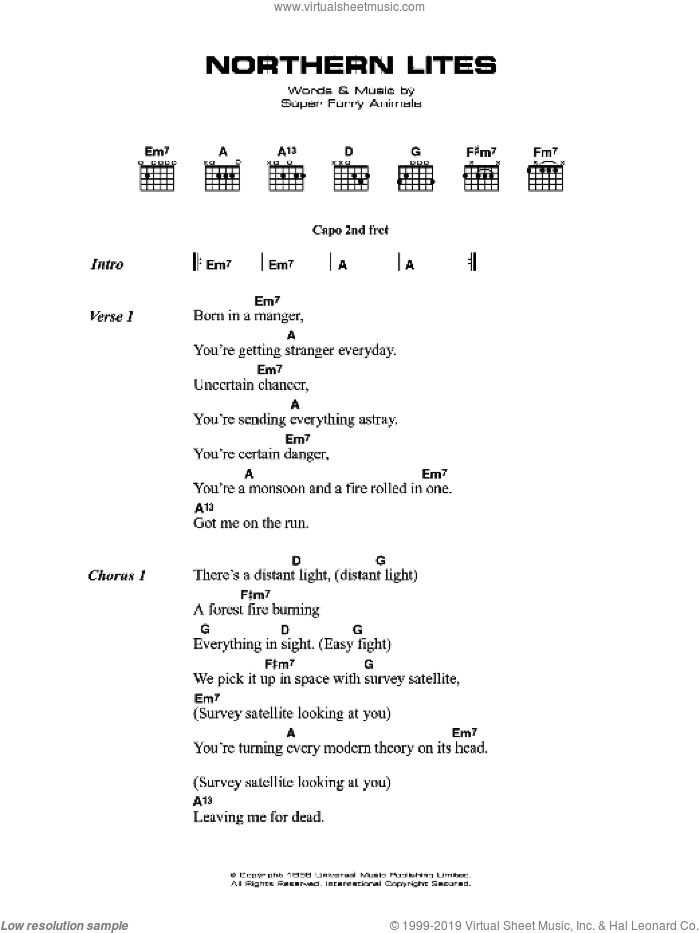 Northern Lites sheet music for guitar (chords) by Super Furry Animals, intermediate guitar (chords). Score Image Preview.