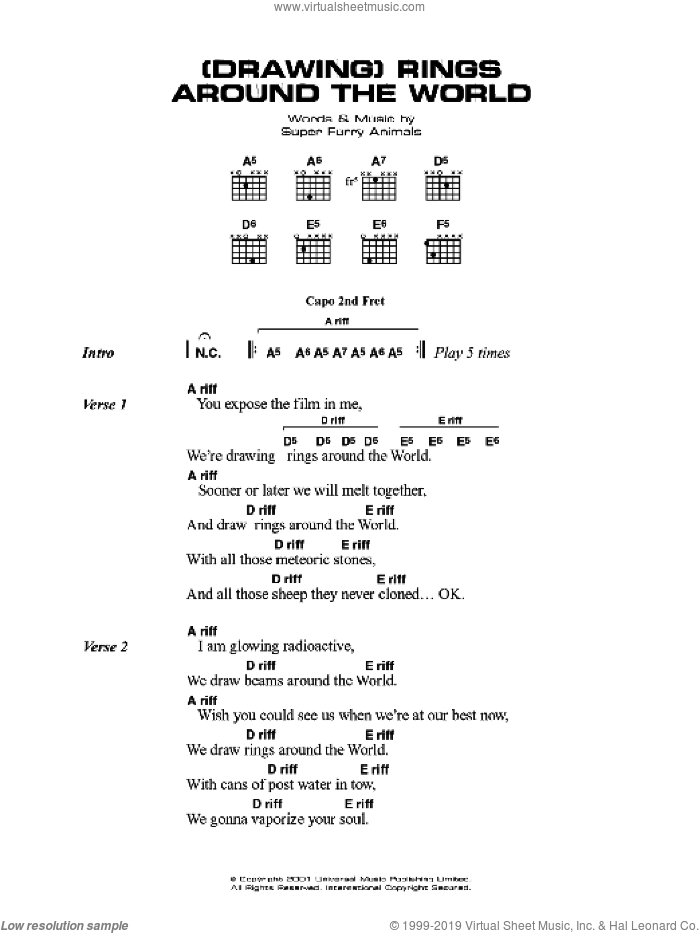 (Drawing) Rings Around The World sheet music for guitar (chords) by Cian Ciaran