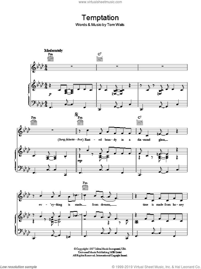 Temptation sheet music for voice, piano or guitar by Tom Waits. Score Image Preview.