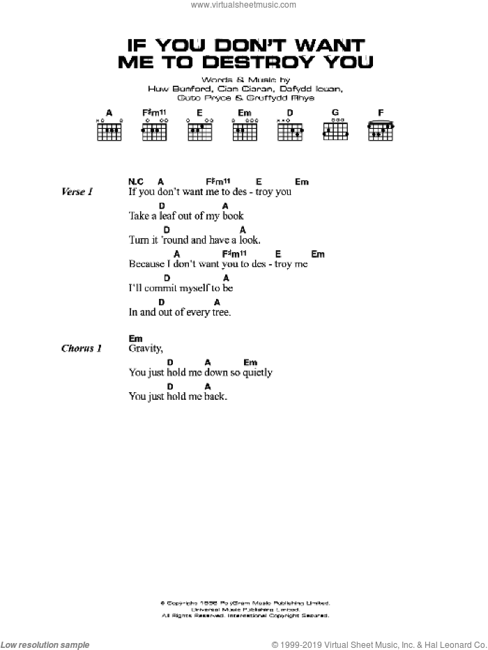 If You Don't Want Me To Destroy You sheet music for guitar (chords) by Super Furry Animals and Gruff Rhys, intermediate guitar (chords). Score Image Preview.