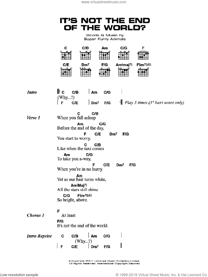 It's Not The End Of The World sheet music for guitar (chords) by Super Furry Animals, Cian Ciaran, Dafydd Ieuan, Gruff Rhys, Guto Pryce and Huw Bunford, intermediate skill level
