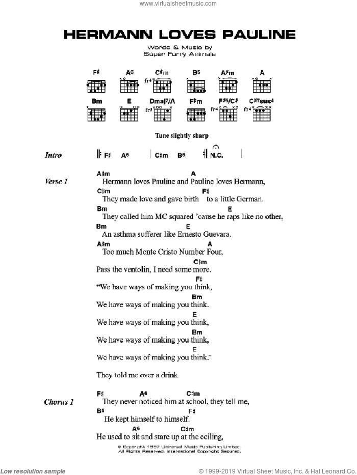 Hermann Loves Pauline sheet music for guitar (chords) by Super Furry Animals, Cian Ciaran, Dafydd Ieuan, Gruff Rhys, Guto Pryce and Huw Bunford, intermediate skill level