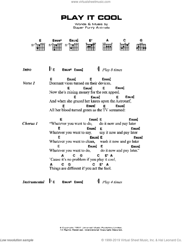Play It Cool sheet music for guitar (chords) by Super Furry Animals and Gruff Rhys. Score Image Preview.