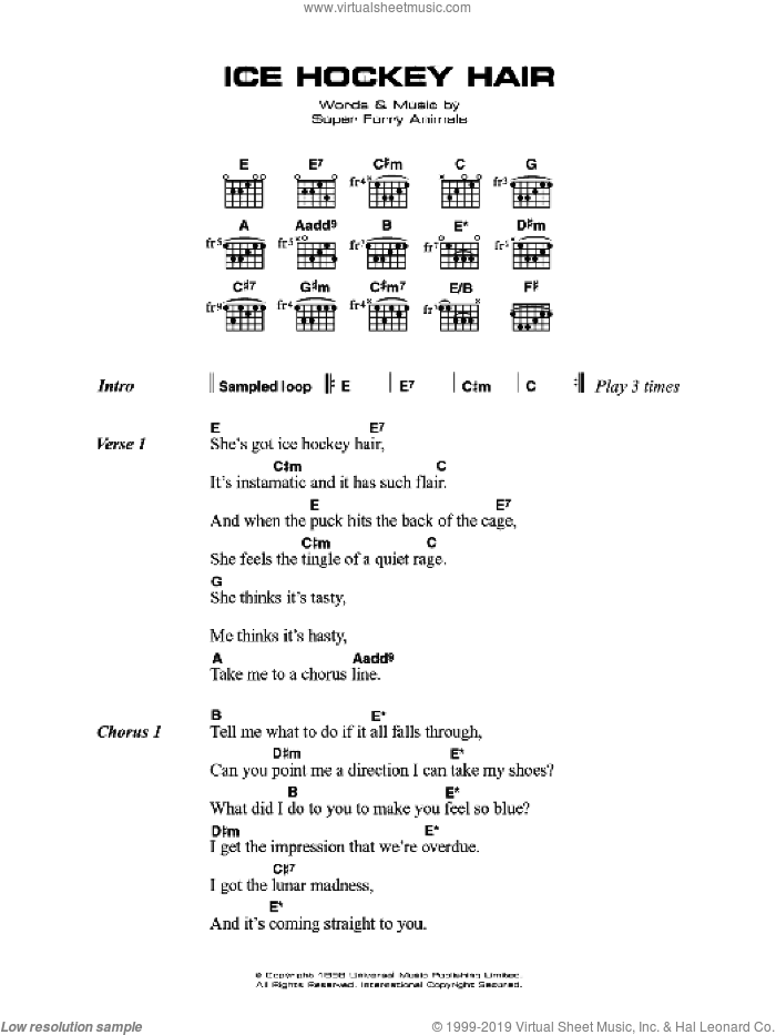 Ice Hockey Hair sheet music for guitar solo (chords, lyrics, melody) by Cian Ciaran