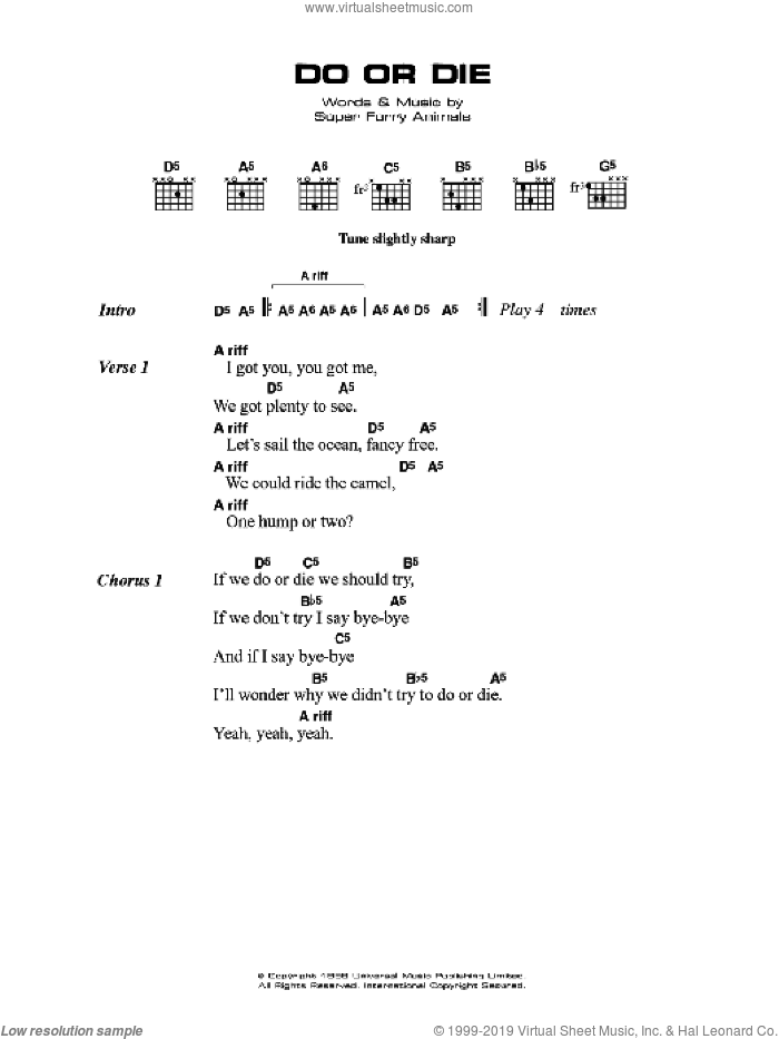 Do Or Die sheet music for guitar (chords) by Super Furry Animals and Gruff Rhys. Score Image Preview.