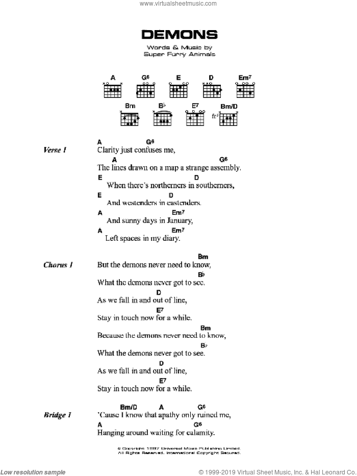 Guitar guitar chords on sheet music : Ciaran - Demons sheet music for guitar (chords)