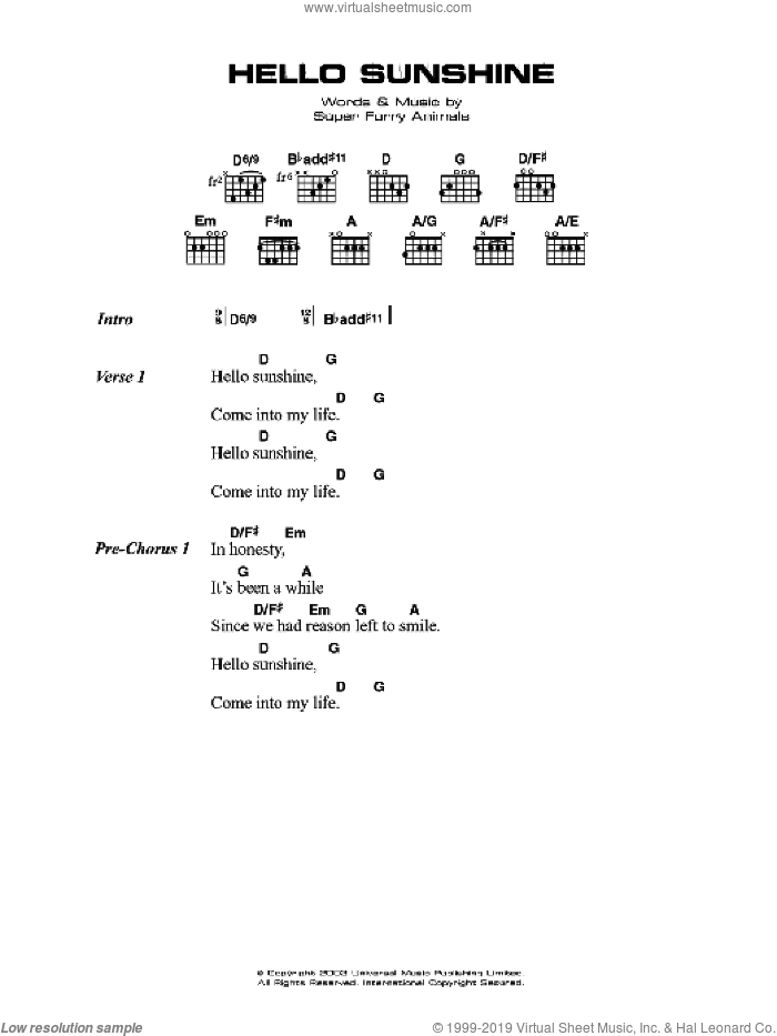 Hello Sunshine sheet music for guitar (chords, lyrics, melody) by Bonnie Flower