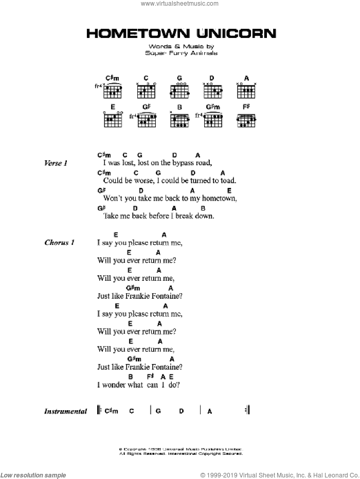 Hometown Unicorn sheet music for guitar (chords) by Super Furry Animals and Gruff Rhys, intermediate