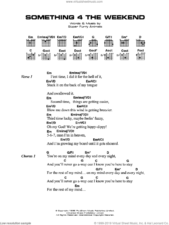 Animals Something 4 The Weekend Sheet Music For Guitar Chords