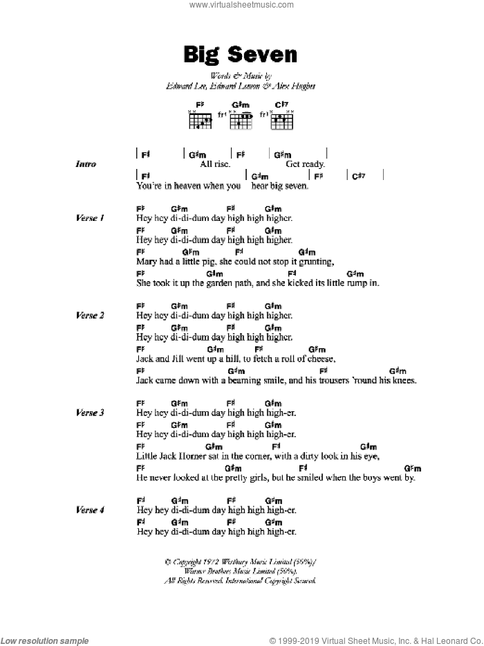 Big Seven sheet music for guitar (chords) by Alex Hughes