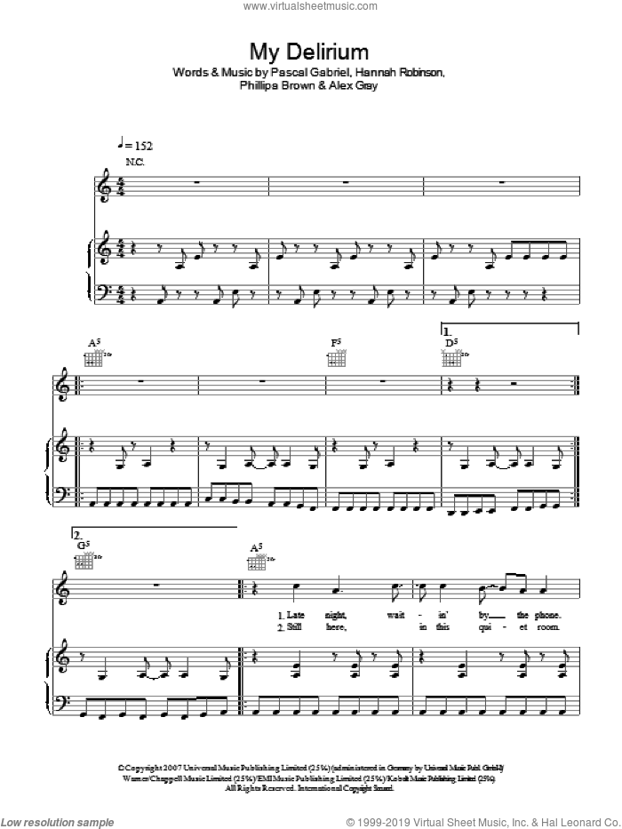 My Delirium sheet music for voice, piano or guitar by Alex Gray and Pascal Gabriel. Score Image Preview.