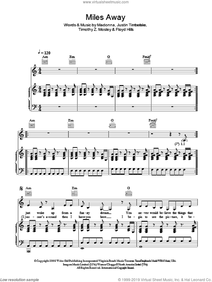 Miles Away sheet music for voice, piano or guitar by Floyd Hills, Madonna, Justin Timberlake and Tim Mosley. Score Image Preview.