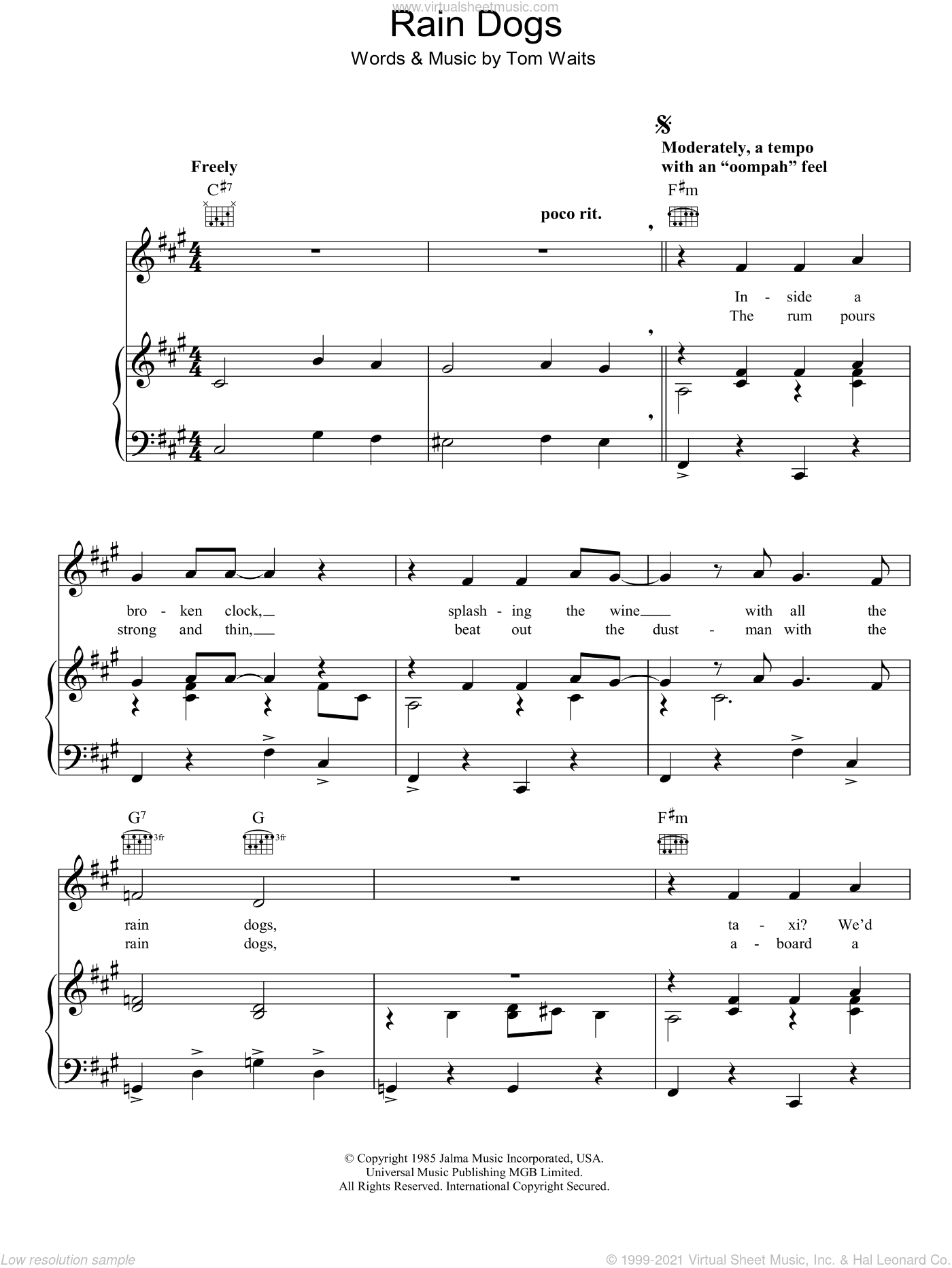 Rain Dogs sheet music for voice, piano or guitar by Tom Waits, intermediate