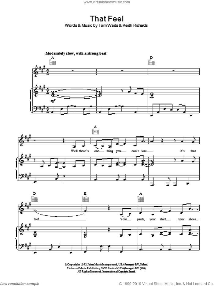 That Feel sheet music for voice, piano or guitar by Tom Waits and Keith Richards, intermediate skill level