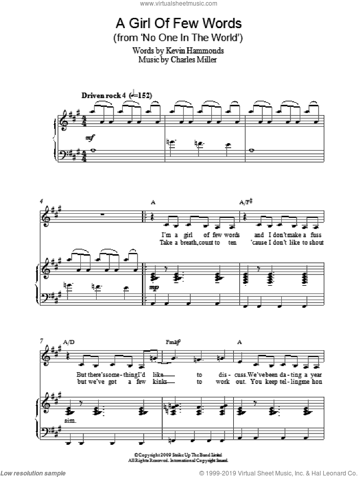 A Girl Of Few Words (from No One In The World) sheet music for piano solo by Charles Miller and Kevin Hammonds, easy skill level