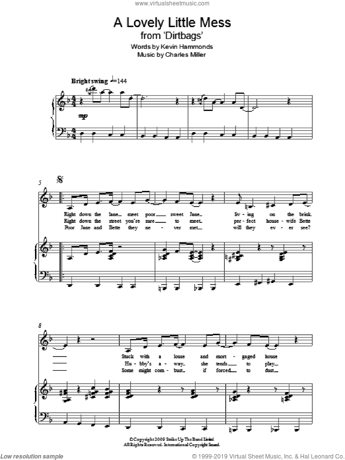 A Lovely Little Mess (from Dirtbags) sheet music for piano solo by Charles Miller and Kevin Hammonds, easy skill level
