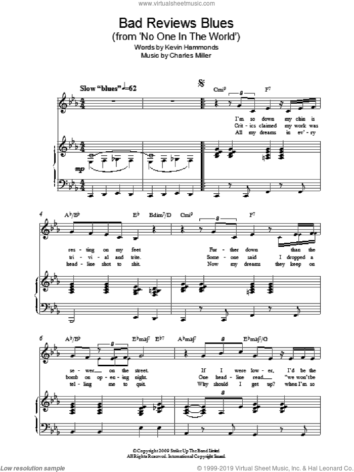 Bad Reviews Blues (from No One In The World) sheet music for piano solo by Charles Miller and Kevin Hammonds, easy skill level