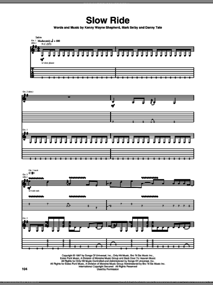 Slow Ride sheet music for guitar (tablature) by Mark Selby, Danny Tate and Kenny Wayne Shepherd. Score Image Preview.