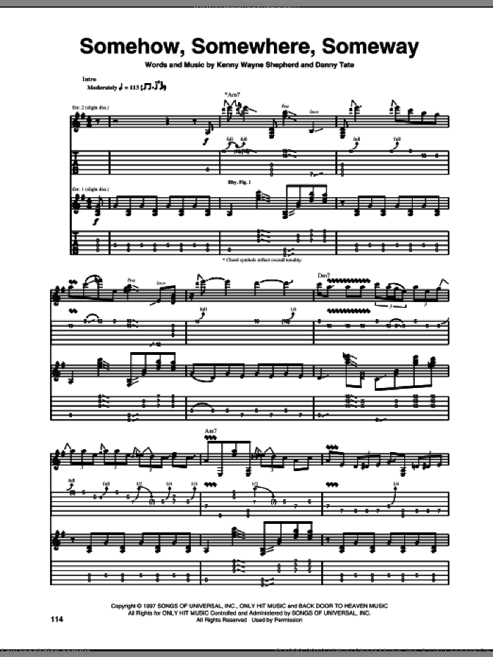 Somehow, Somewhere, Someway sheet music for guitar (tablature) by Kenny Wayne Shepherd, intermediate guitar (tablature). Score Image Preview.