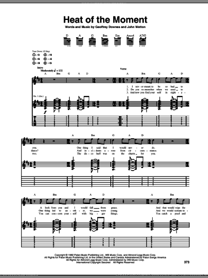 Heat Of The Moment sheet music for guitar (tablature) by John Wetton, Asia and Geoff Downes. Score Image Preview.
