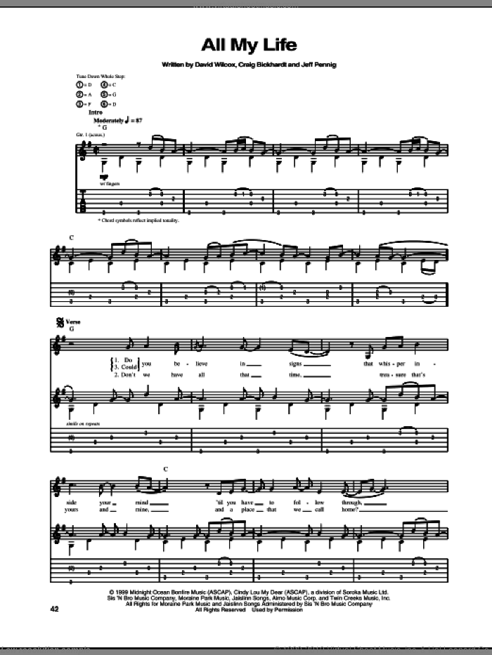 All My Life sheet music for guitar (tablature) by Jeff Pennig