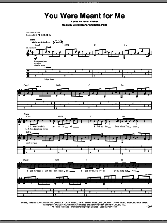 You Were Meant For Me sheet music for guitar (tablature) by Steve Poltz, Jewel and Jewel Kilcher. Score Image Preview.