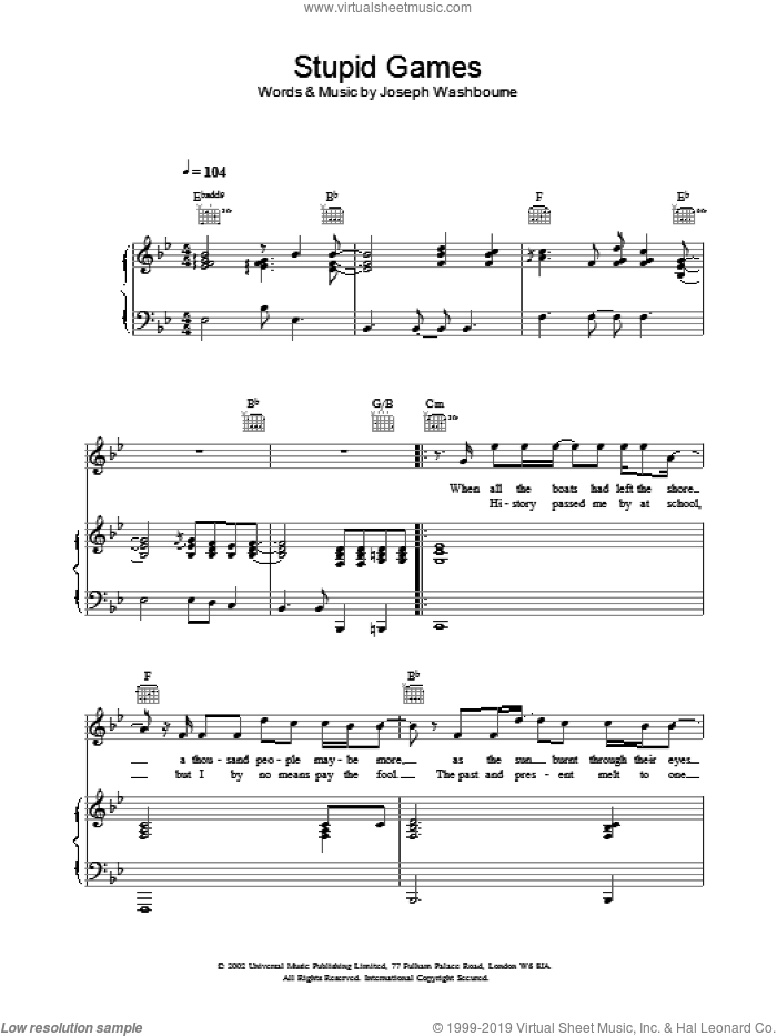 Stupid Games sheet music for voice, piano or guitar by Toploader, intermediate. Score Image Preview.