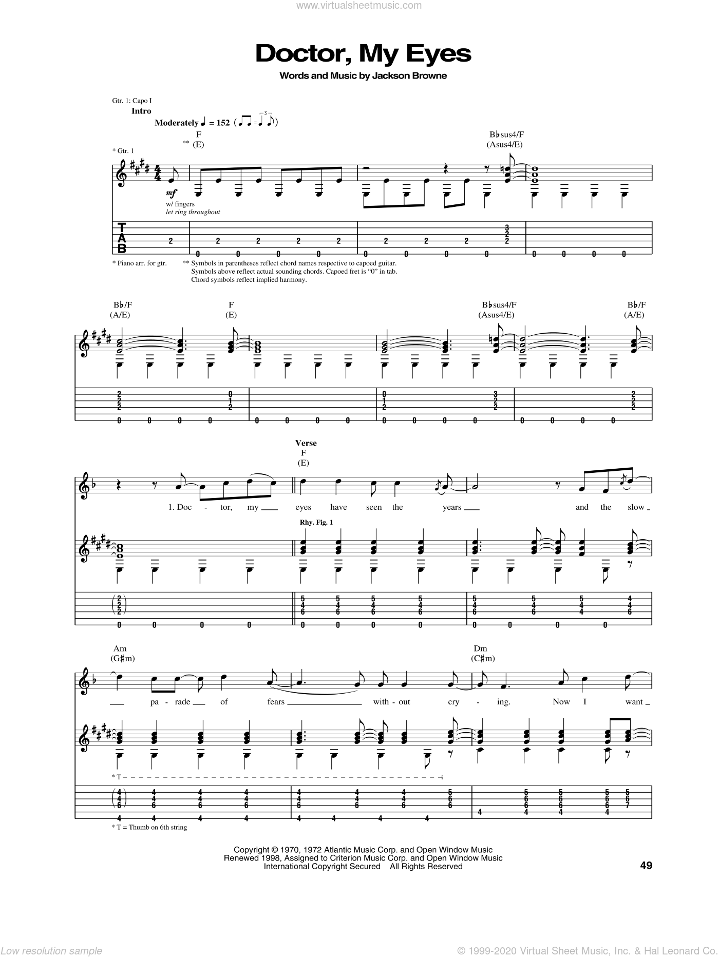 Doctor, My Eyes sheet music for guitar (tablature) by Jackson Browne. Score Image Preview.