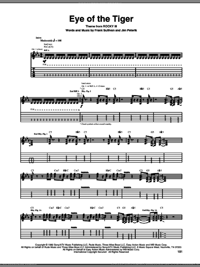Eye Of The Tiger sheet music for guitar (tablature) by Jim Peterik, Survivor and Frank Sullivan. Score Image Preview.
