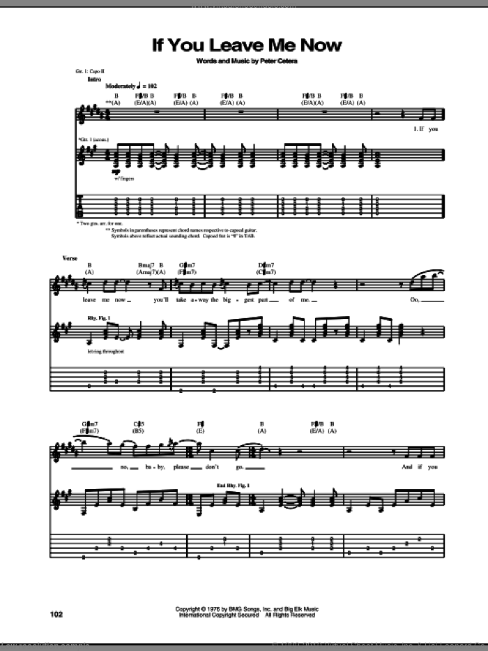If You Leave Me Now sheet music for guitar (tablature) by Peter Cetera and Chicago. Score Image Preview.