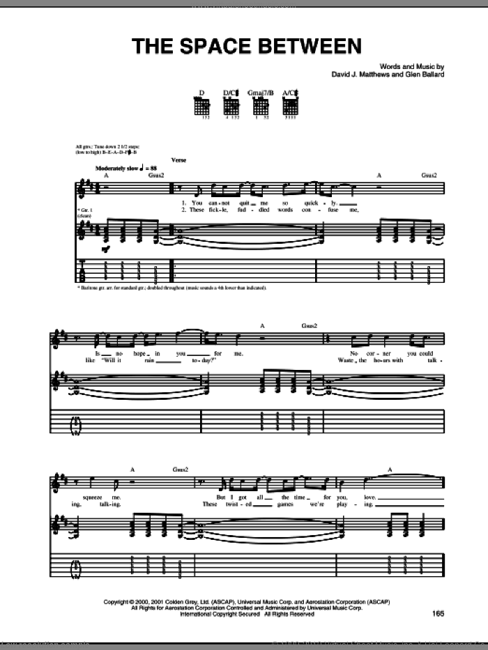 The Space Between sheet music for guitar (tablature) by Glen Ballard and Dave Matthews Band. Score Image Preview.